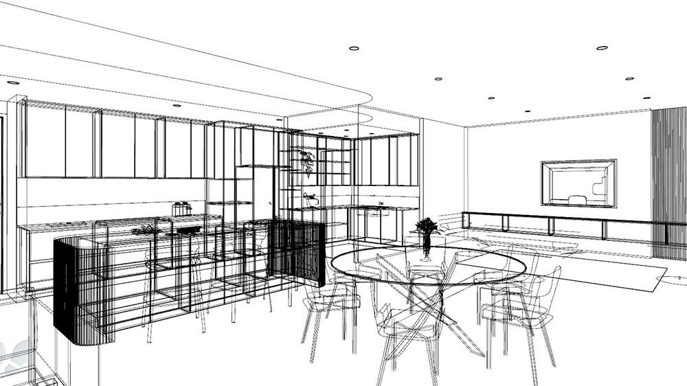 sketch of a custom kitchen design