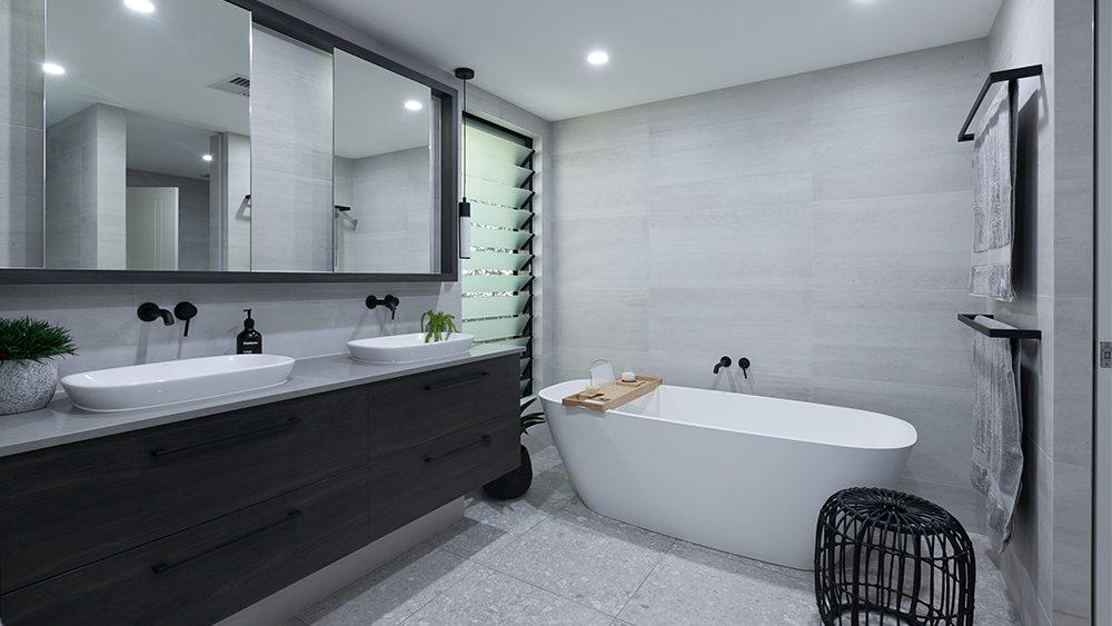 unique bathroom renovations in perth with a cool dark colour theme
