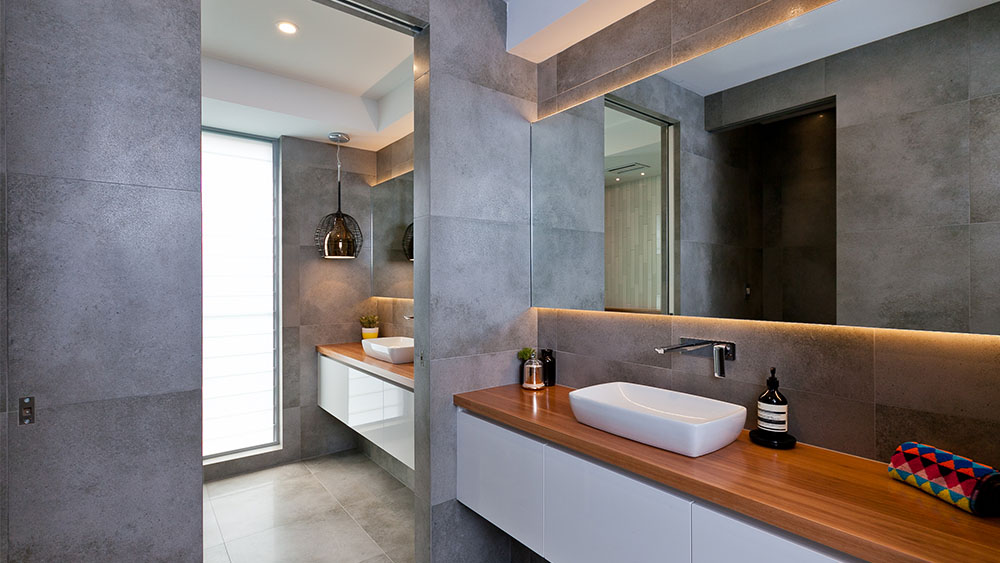 custom bathroom cabinetry for perth home with designer lighting
