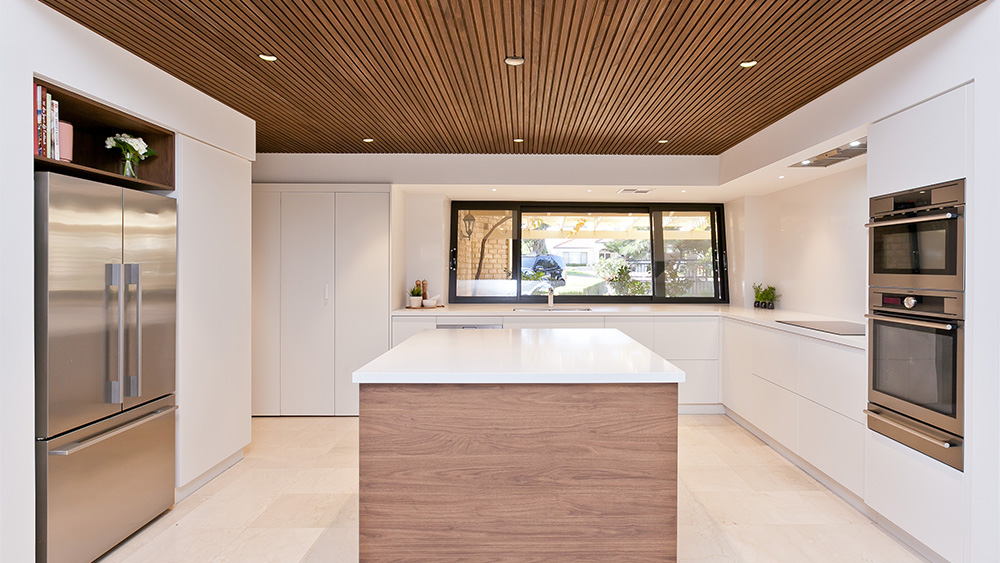 luxury kitchen with custom wooden slatted ceilings