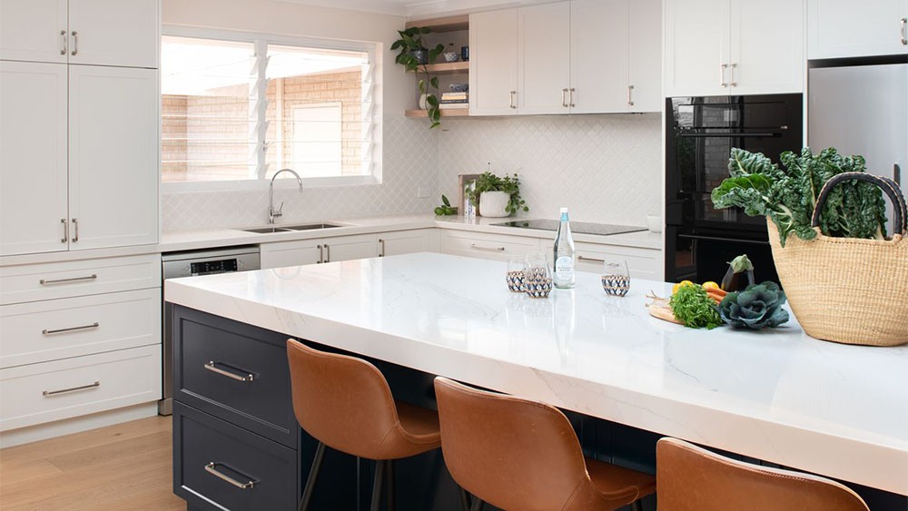 kitchen design with white benchtop breakfast bar