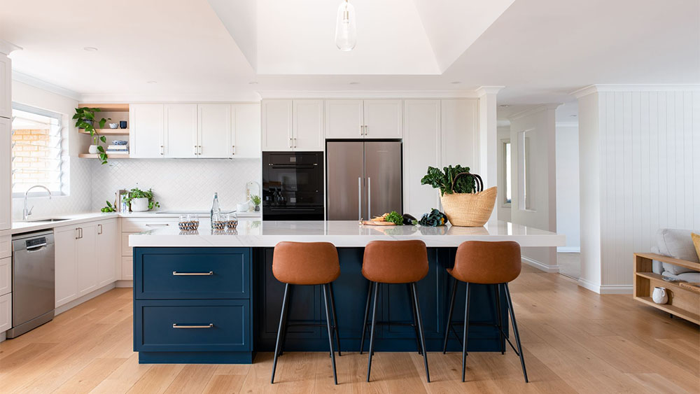 open kitchen design with breakfast bar and stools