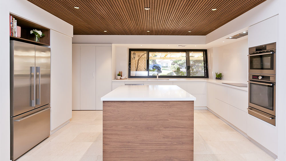 open kitchen renovation with white benchtop
