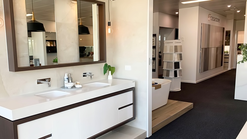 showroom space with kitchen and bathroom design examples