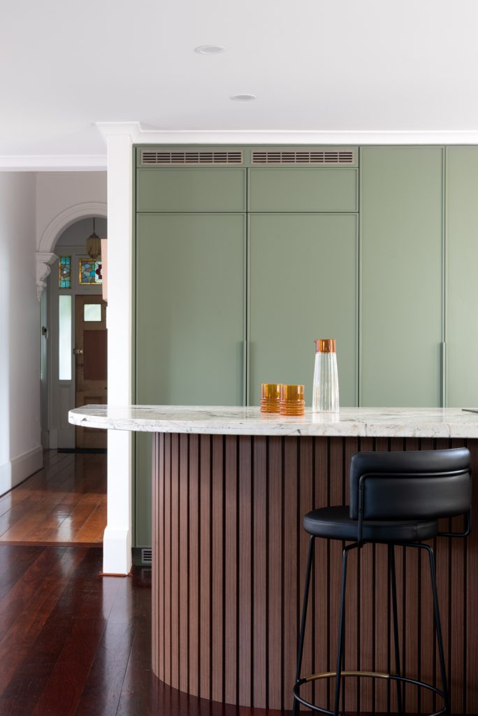 Close up of custom pantry cabinetry.
