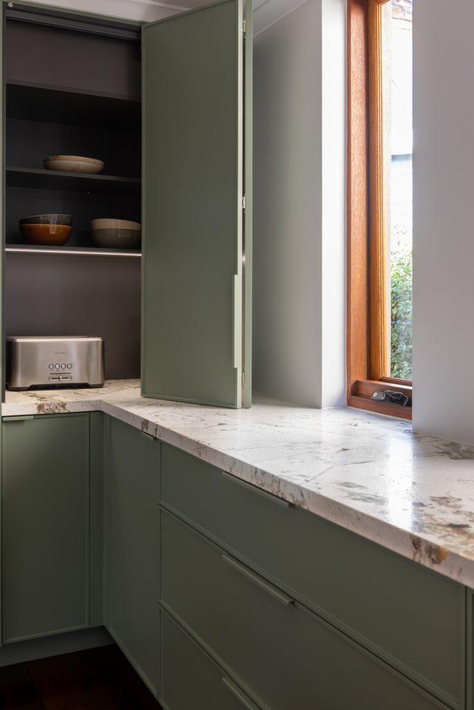 fern green kitchen cabinetry